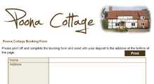 Booking Form for Poona Cottage